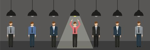 Businessmen are standing under lamps one switched on hanging lamp stock illustration