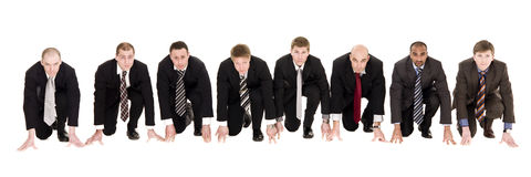 Businessmen in start position Stock Photo