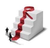 Businessmen success steps. Businessmen in front of success staircase necktie steps vector illustration
