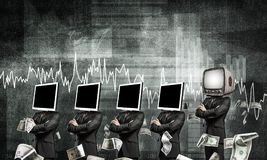 Modern technologies against old one. Businessmen in suits with monitor instead of their heads keeping arms crossed while standing in a row and one at the head Royalty Free Stock Image