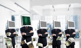 Business addiction on modern technologies. stock photos