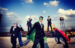 Businessmen in superhero costume. Men royalty free stock image