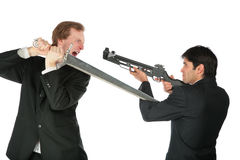 Businessmen with sword and crossbow. On white Stock Photos