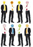 Businessmen with symbol heads Royalty Free Stock Image