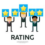 Businessmen with tablets of gold stars rating. Appreciation and recognition. Praise and the highest reward. Competitions, lottery and gambling stock illustration