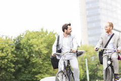 Businessmen talking while riding bicycles outdoors Stock Images