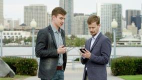 Businessmen are talking on a street of Coronado, San Diego stock video