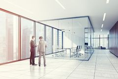 Glass, white office meeting room, armchairs toned Royalty Free Stock Photo