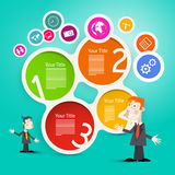 Businessmen or Teachers with Circle Paper Infographic Stock Photo