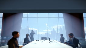 Businessmen team in conference room, rear view cityscape stock video footage