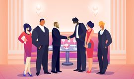 Businessmen Team Leaders Meet for Successful Deal. royalty free illustration