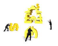 Businessmen teamwork for gold stacking money building with leade Royalty Free Stock Photo