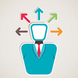 Businessmen think multi-direction arrow. Stock Stock Images
