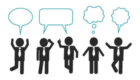 Businessmen think and speak. Simple schematic businessmen stand in different poses, speak and think. Over businessmen, the icons of thoughts and dialogue stock illustration