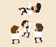 Businessmen throw up teammate to the air for congratulation. Vector cartoon of Businessmen throw up teammate to the air for congratulation Royalty Free Stock Photography