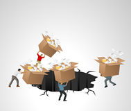 Businessmen throwing away boxes Stock Image