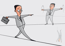 Businessmen on the tightrope Stock Image