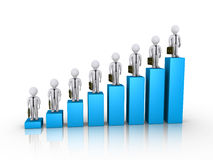 Businessmen on top of columns of chart. 3d businessmen on top of blue columns of chart Stock Image