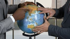 Businessmen touching globe. Two men in suits. Conflict of interests. Prove you're right stock video