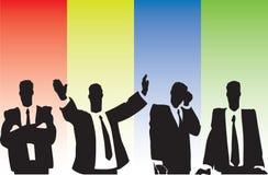 Businessmen on tribune Stock Photo