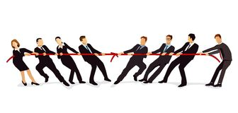 Businessmen at tug of war. An illustration of a group of businessmen and business women at a tug of war Royalty Free Stock Images