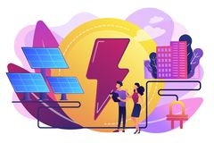 Solar energy concept vector illustration. Businessmen use solar energy panels to produce electricity for the city. Solar energy, solar power plant, alternative royalty free illustration