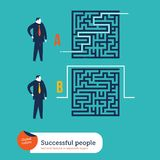 Businessmen using different ways to go out of a maze. Stock Photo