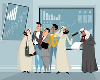 Businessmen viewing results of trading. Vector illustration of businessmen viewing results of trading Royalty Free Stock Image