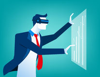 Businessmen with virtual reality innovation. Concept business illustration. Vector falt Stock Photos