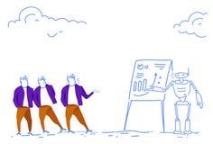 Businessmen vs modern robot financial graph analytics consultation concept men bot standing together brainstorming. Artificial intelligence horizontal sketch stock illustration