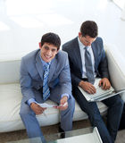 Businessmen waiting for a job interview Royalty Free Stock Photography
