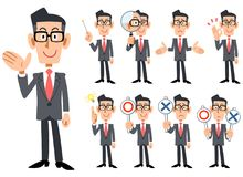Businessmen wearing glasses _ The whole body 9 types. Gestures and expressions of glasses-worn businessmen wearing red tie and gray suit _ The whole body 9 types royalty free illustration