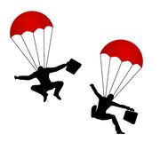 Businessmen Wearing Parachutes. An illustration featuring a pair of businessmen wearing red parachutes and carrying briefcases to represent solutions, security Stock Photo