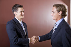 Businessmen wearing suits shaking hands Royalty Free Stock Photos