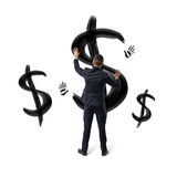 Businessmen on white background placing hands on black painted dollar signs and hand prints. Stock Image