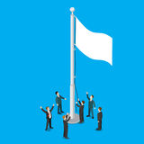 Businessmen white empty flag flagpole flat vector isometric 3d Royalty Free Stock Photo