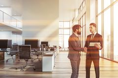 Businessmen in white open space office royalty free illustration