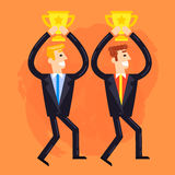 Businessmen who win the cups. Flat illustration of businessmen who win the cups. Fully editable vector illustration on a painted effect background. Perfect use Royalty Free Stock Image