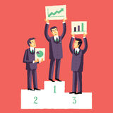 Businessmen, who won the competition for the presentation of their projects. Vector illustration Stock Photo