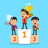 Businessmen winner standing on a podium and holding up winning trophies. For design Royalty Free Stock Image