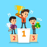 Businessmen winner standing on a podium with reward Stock Images
