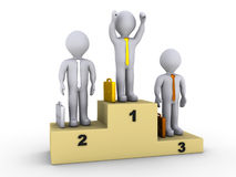 Businessmen on winners podium. 3d businessmen on winners podium and the first one is celebrating Royalty Free Stock Image