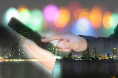 Businessmen and women are using mobile and  touch smart phone  f Stock Image