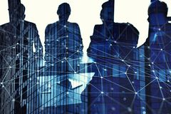Businessmen that work together in office with network connection effect. Concept of teamwork and partnership. double Stock Photo