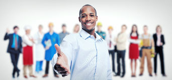Businessmen and workers group. Team Working. stock photos