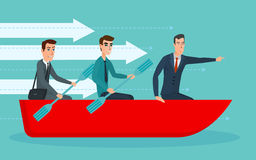 Businessmen workers rowing oars in boat and manager with. Royalty Free Stock Images