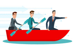 Businessmen workers rowing oars in boat and manager with Team Royalty Free Stock Photography