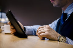 Businessmen are working in cafe Royalty Free Stock Photography