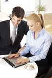 Businessmen working with his colleague Stock Image