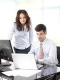 Businessmen working with his colleague Stock Photography